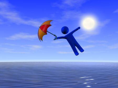 protecting: Person and umbrella near the sea. Travel concept.