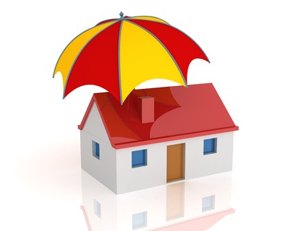 3d render of a house and umbrella. Safety concept. Stock Photo