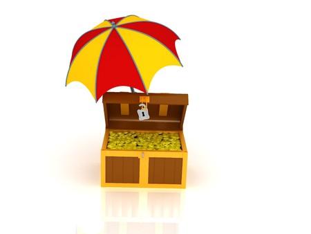 gamp: 3d render of treasure chest under the umbrella.