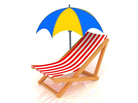 longue: 3d render of chaise longue and umbrella.
