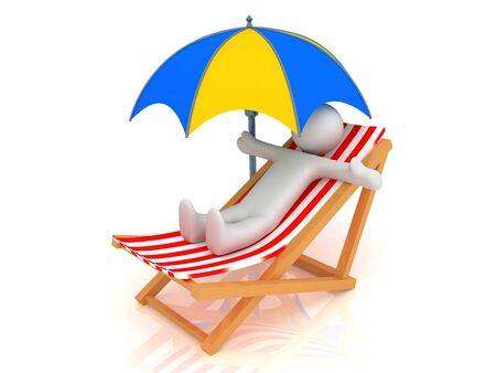 3d render of chaise longue, person and umbrella.