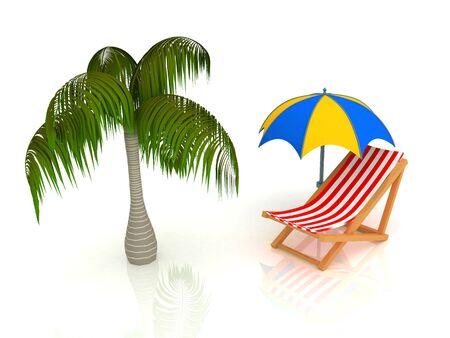 longue: 3d render of chaise longue, umbrella, palm.