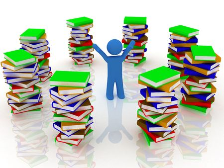 3d render of pile of books with person. Stock Photo