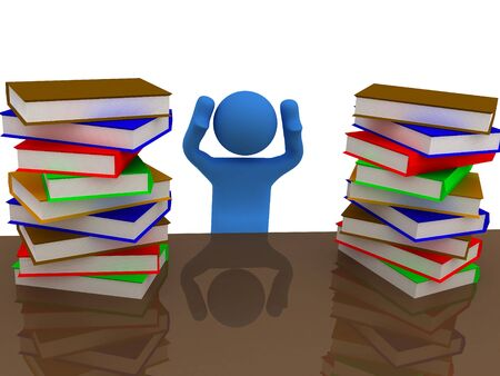bales: 3d render of pile of books with person. Stock Photo