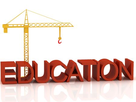 3d render of crane and text Education photo