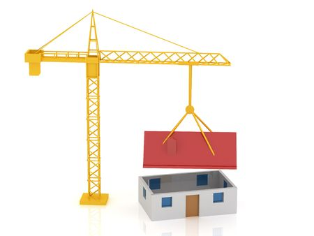 3d render of crane and house. Building concept. photo