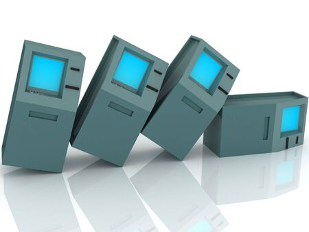 checking accounts: 3d render of atm machines. Finance concept.