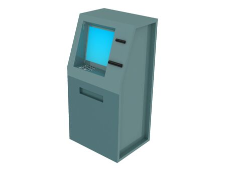 checking accounts: 3d render of atm machine. Isolated on white background.