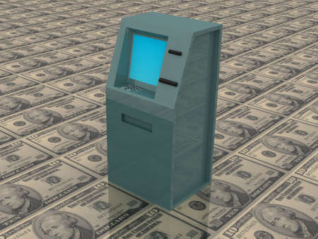 checking account: 3d render of atm machine on money. Stock Photo
