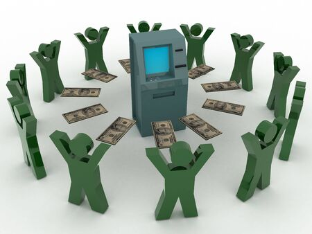 checking accounts: 3d render of atm machine. Finance concept.