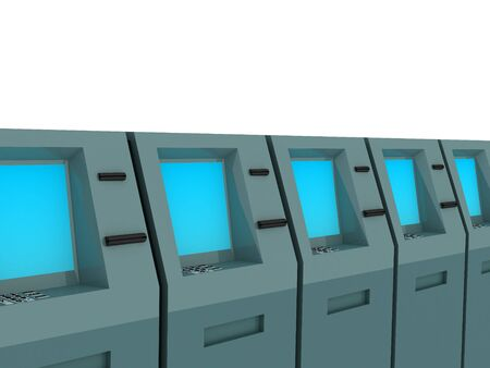 checking account: 3d render of atm machines. Finance concept.