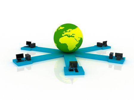 Black computers near earth. Global communication concept. photo