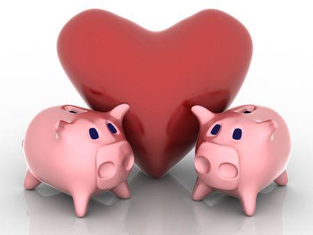 mortgage rates: 3d render of piggy bank. Finance concept.