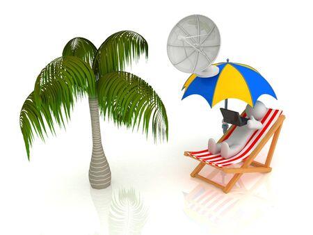 3d render of chaise longue, umbrella, palm, person.