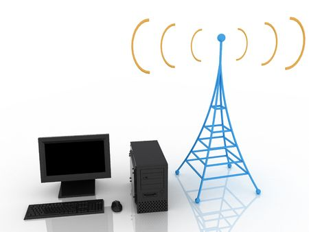 3d render of radio tower. Communication concept. Stock Photo