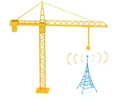 telephonic: 3d render of radio tower. Communication concept. Stock Photo