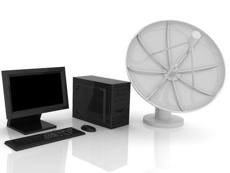 3d render of Satellite dish. Communication concept. photo