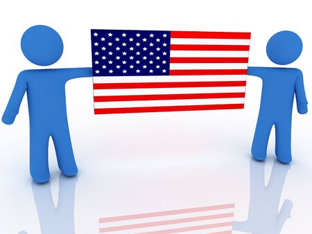 3d rendering of two persons with american flag Stock Photo