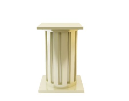 3d rendered pedestal. Put on exhibition your object. Isolated on white background