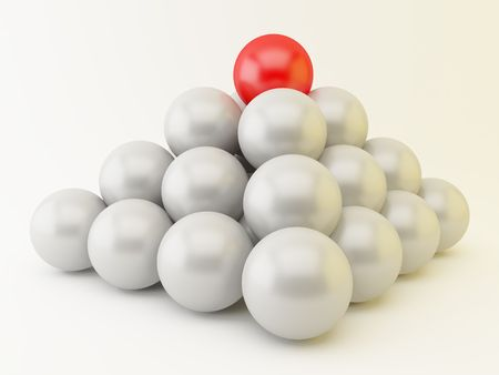 3d render of a pyramid of spheres. Teamwork concept.