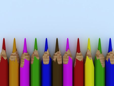 3d render of colored pencils on blue background.