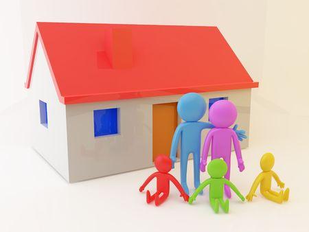 A family photo near house. Habitation concept. photo