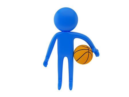 nba: 3d render of a person with ball
