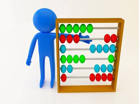 3d render of a person with abacus