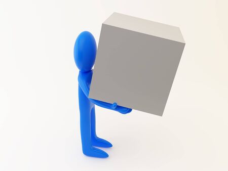 3d render of a person with the box. Stock Photo - 5229587