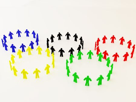 olympic symbol: Many persons, placed like the Olympic symbol Editorial