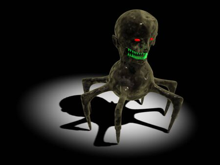 terrible: 3d render of terrible monster. Horror concept.