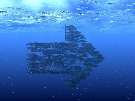 3d render of shoal of fish