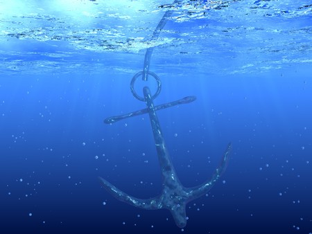 3d boat: 3d render of anchor. Underwater picture. Stock Photo