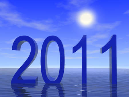2011 with ocean and sky. 3d render. Stock Photo