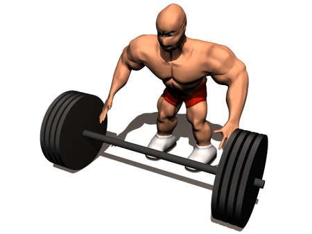 3d render of bodybuilder. Isolated on white background