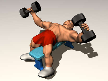3d render of bodybuilder with dumbbells. Fitness concept. photo
