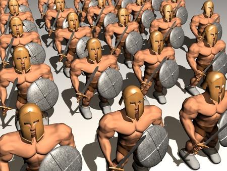 cascos romanos: Guerreros con casco y espada. procesamiento 3D.