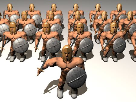 roman soldier: Commander staying in front of army. 3d render