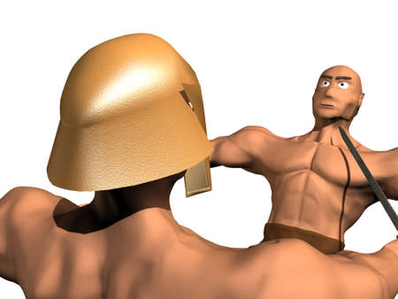 3d render of fighting of two person. photo