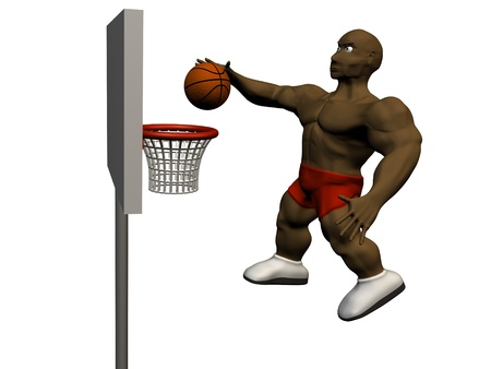 nba: 3d basketball player trying to made slam dunk