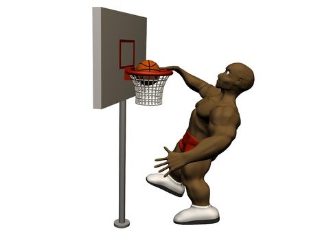 3d basketball player trying to made slam dunk photo