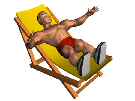 longue: 3d render of person on chaise longue. Isolated on white background.  Stock Photo