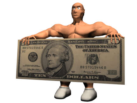 3d render of person with 10 dollars.
