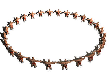 3d rendering of people circle. Three-dimensional Shape. Stock Photo