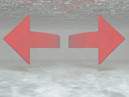3d render of pointers, which are under water.