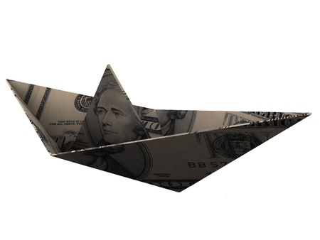 Boat made from paper. Origami. 3d render. Stock Photo