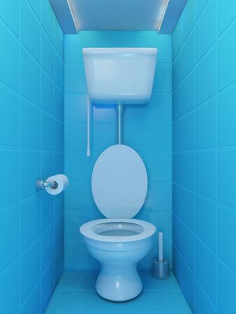Interior of toilet room in blue colors