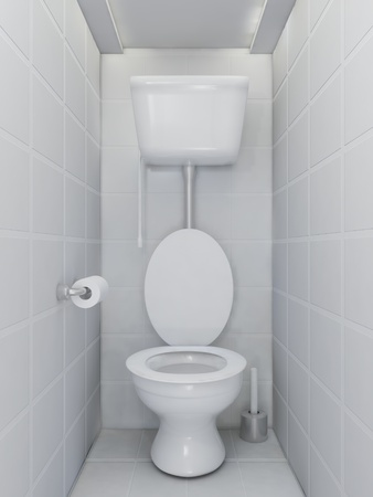 Interior of toilet room in grey colors