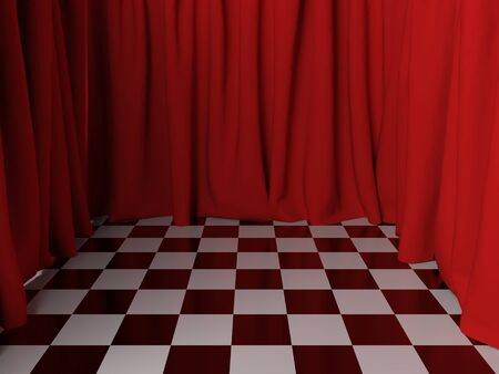 Surreal  interior with red curtains. 3d rendering.