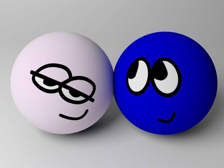 Happy couple. 3d render of two cartoon persons. Stock Photo